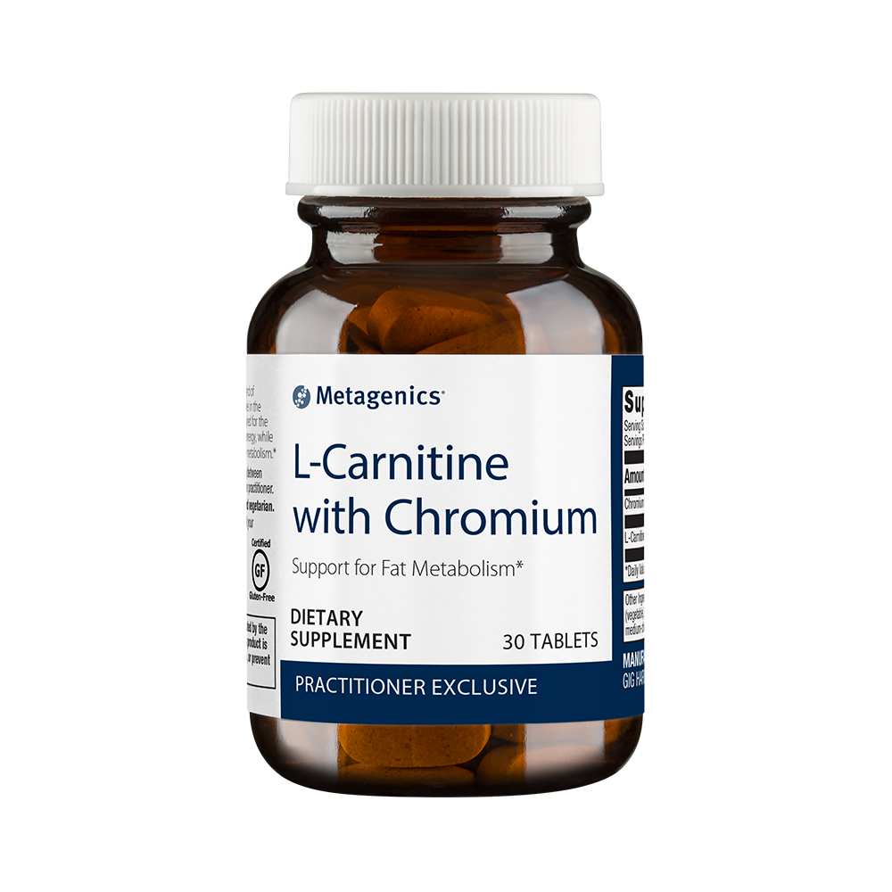 An L-Carnitine health supplement, available through the Hope N Wellness Metagenics store.