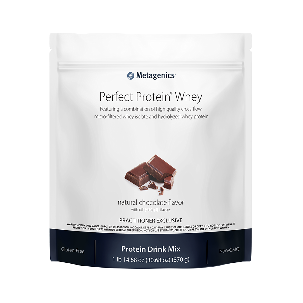 The Perfect Protein whey protein supplement, created by Metagenics and made available for purchase through HopeNWellness.