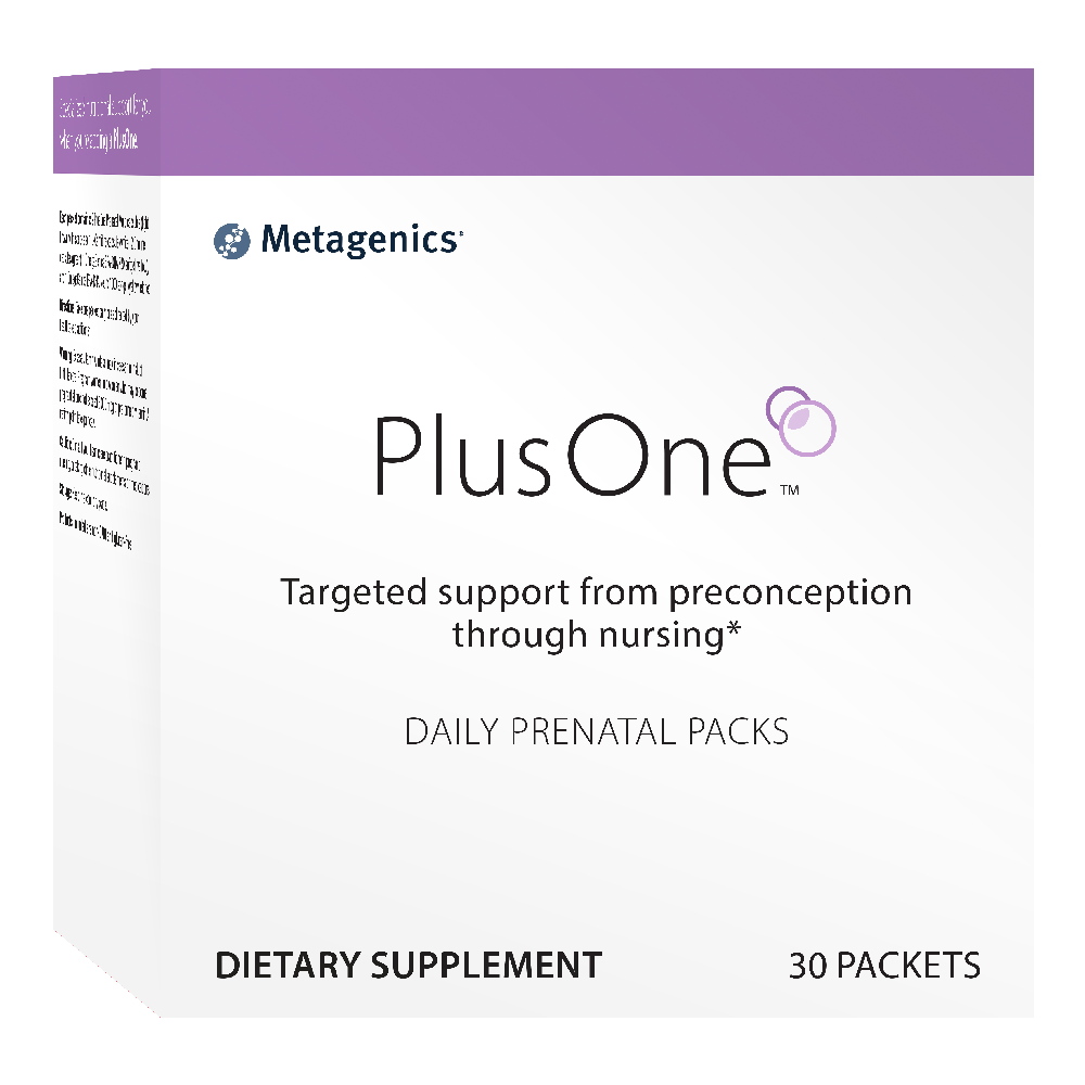 A Metagenics prenatal vitamin, PlusOne Daily Prenatal Packs.