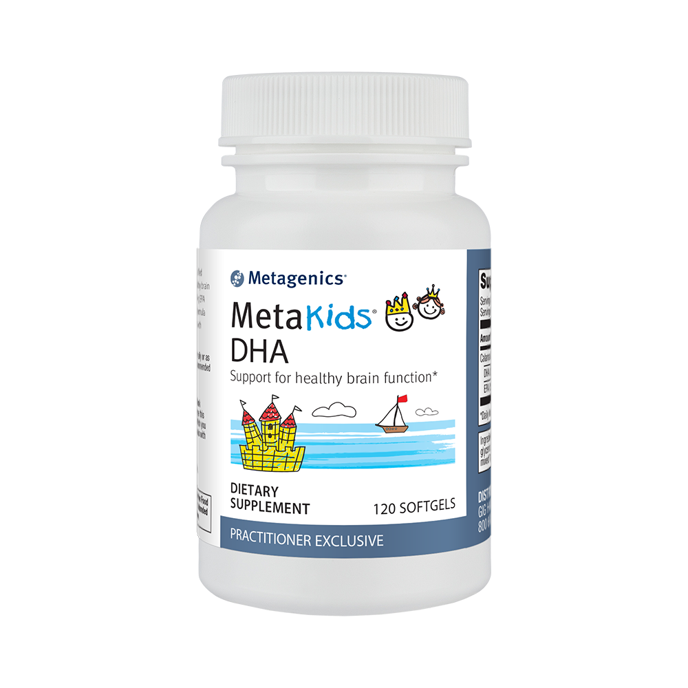 Metakids DHA, the ideal fish oil supplement for kids, full of essential fatty acids.