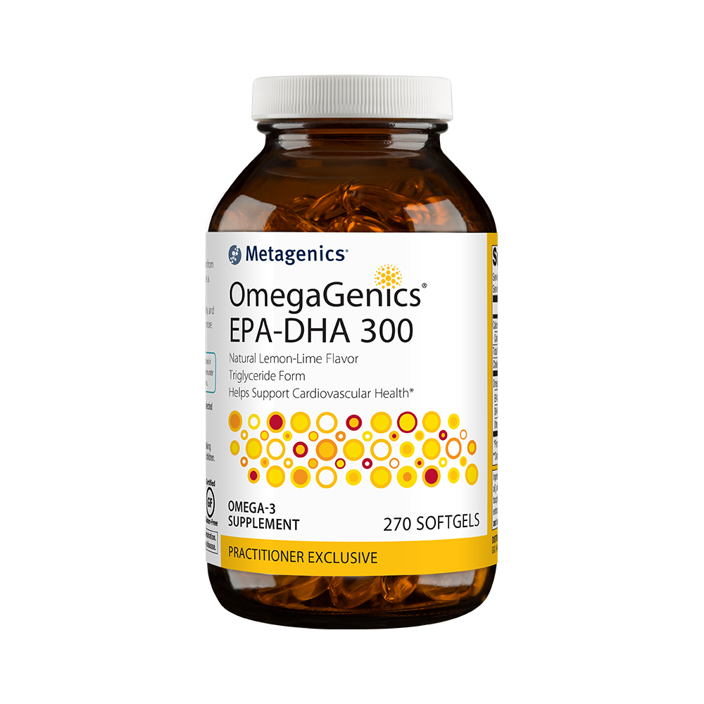OmegaGenics EPA-DHA 300: a Metagenics fish oil supplement.