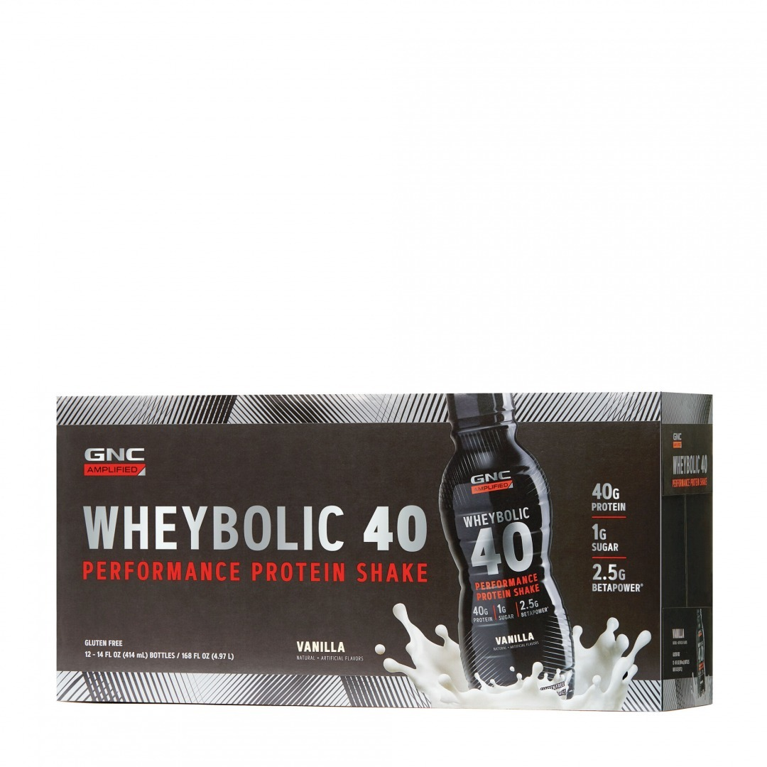 GNC Amplified Wheybolic 40, one of the best protein shakes for muscle mass.